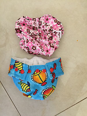 2 baby diapers REUSABLE WASHABLE pants ADJUSTABLE snap NAPPIES LOT soft PINK