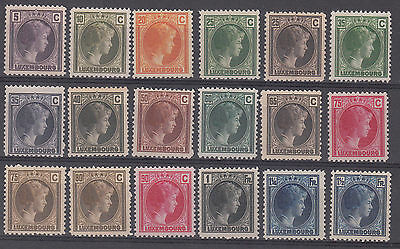 Luxembourg 1926-28 complete set of 16 values  ' Grand Duchess Charlotte ' MNH