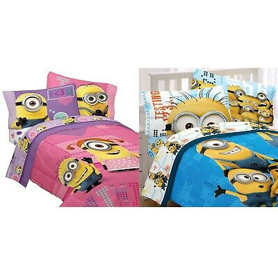 nEw DESPICABLE ME BEDDING SET - Funny Minions Comforter Sheets Pillowcase