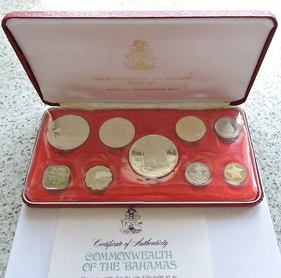Bahamas 1975 Proof 9 Coin Proof Set Includes 4 Silver Coins, Sealed With COA