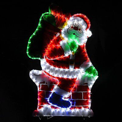 Large Santa LED Rope Lights Silhouette Outdoor Garden Wall Christmas Decoration