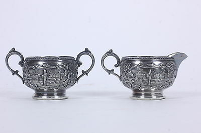 Derby Silverplate Co Creamer & Open Sugar Bowl Dutch Farm Scenes Aesthetic Era