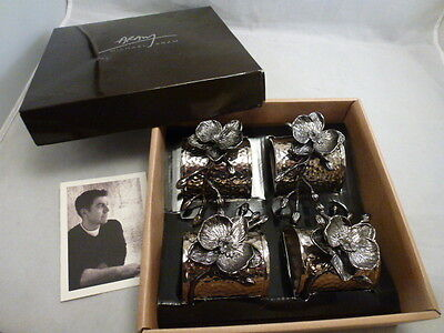 Michael Aram Black Orchid Set of 4 Napkin Rings NEW IN BOX
