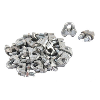 """M5 5mm 3/16"""" Metal Wire Rope Saddle Cable Clamps Clips 20PCS Silver Tone"""