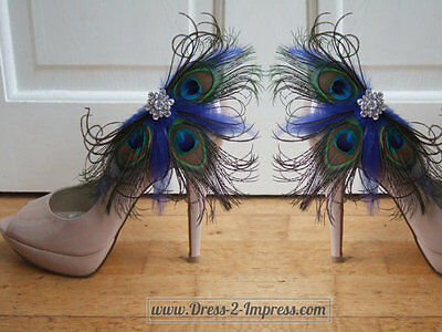 "Peacock Feather Crystal Royal Blue Bridal Shoe Clips ""Gemma"" Wedding - Fairytale"