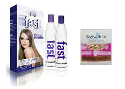 FAST Hair Grow Stimulating Growth Shampoo Conditioner + 3 Gorgeous HairTies Pink