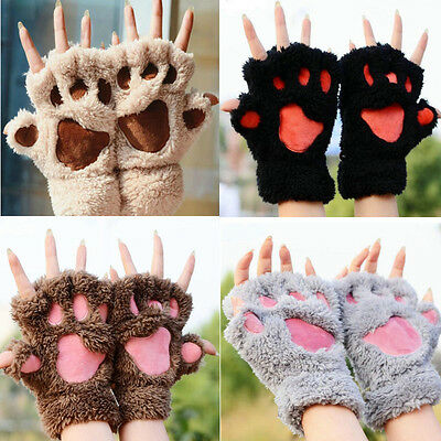 Winter Women Soft Warm Paw Lovely Gloves Half finger Fluffy Bear Cat Plush Paw