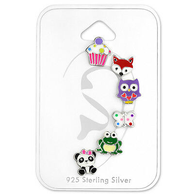 Children's 925 Sterling Silver Earrings - Variety of Animal and Cupcake Studs
