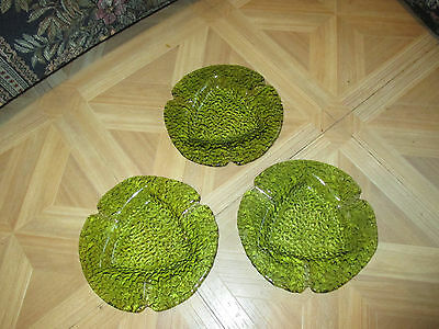 Vintage Green Glass Ashtray Cigar Holder Vintage Bark Texture Avocado Lot of 3