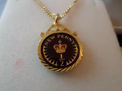 Vintage Enamelled Half Penny Coin Pendant & Necklace. Many Dates. Birthday Gift