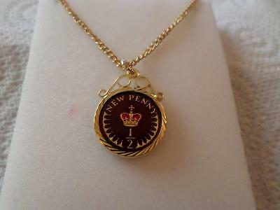 Vintage Half Penny Coin 1973 Enamelled Pendant & Necklace. Birthdate Jewelry