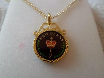 Vintage Half Penny Coin 1976 Enamelled Pendant & Necklace. Birthdate Jewelry