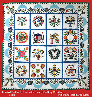 LIMITED EDITION Hand Applique Baltimore Album QUILT TOP  Vine & Sawtooth borders