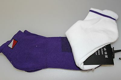 2 pairs JRB Padded Sole/Heel Golf Socks Cotton Liner/Trainer White + Deep Purple