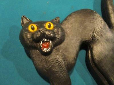 Signed Don Featherstone Blow Mold Black Cat With Glass Eyes 1992 Union Products