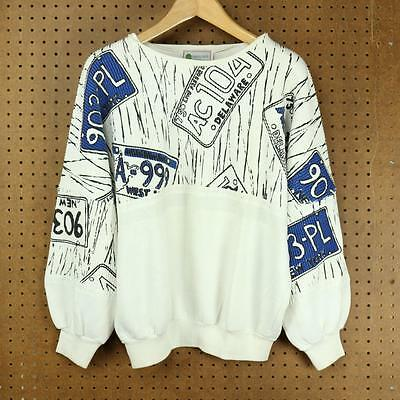 vtg 80's 90's organically grown brand sweatshirt LARGE license plate baggy boxy