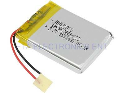 Replacement Lithium Battery for Bluetooth Handsfree Rearview Mirror 3.7V 1500mAh