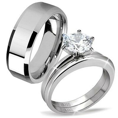 His & Hers Classic Men's Band Women's CZ Stainless Steel Wedding Engagement Ring