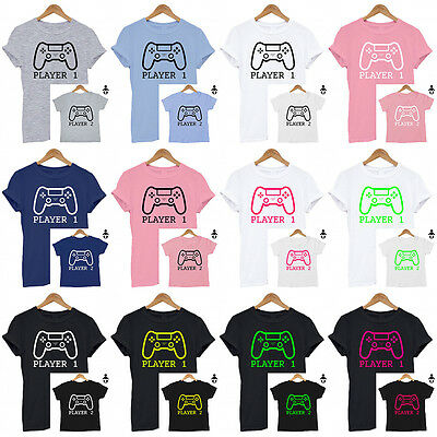 Player 1/ Player 2 Mum & baby /Dad & baby /Matching t shirt set / Baby shower