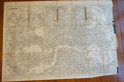 1904 London Linen Map Drawn for Post Office Directory