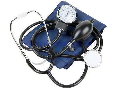 Portable Blood Pressure Stethoscope Meter Aneroid Monitor Cuff Sphygmomanometer