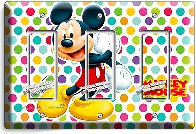 Mickey Mouse Pastel Polka Dots Triple Gfci Light Switch Plate Cover Baby Nursery