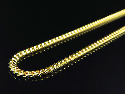925 Sterling Silver Solid Miami Cuban Chain Necklace 3mm In Yellow Gold Finish
