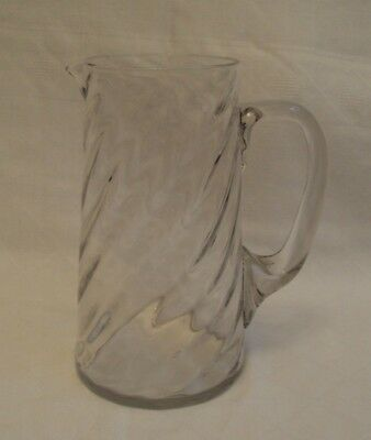 Antique Victorian Wrythen Blown Glass Ale Jug with Applied Handle