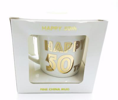 50th Birthday Gift Mug New Boxed With Gold Lettering LP33687