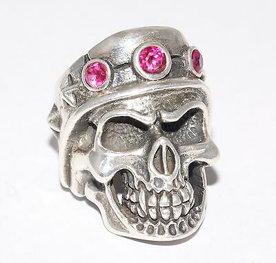 Sterling Silver Gladiator Skull Ring With Red Gem Stones Gothic/Biker Style