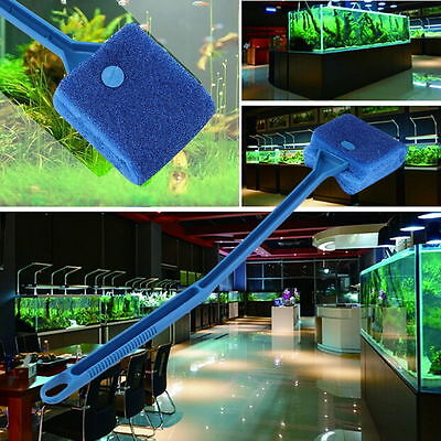 Aquarium Fish Tank Algae Cleaner Glass Plant 2 Head Cleaning Easy Brush GL#1