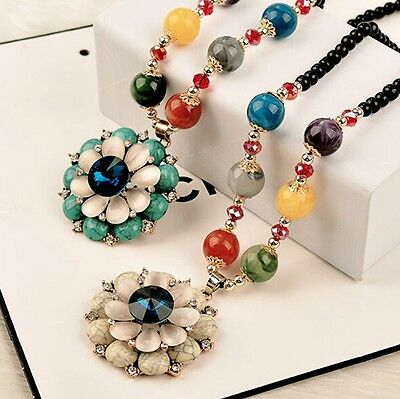 Fashion Women Jewelry Chain Turquoise Flower Bead Long Pendant Sweater Necklace