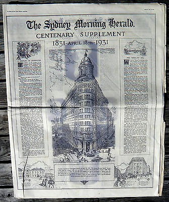 SYDNEY MORNING HERALD CENTENARY ISSUE April 18, 1931 with supplement