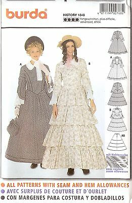 Old West dress Crinoline PATTERN Historical Burda 2768 sz 10-26 Victorian 1848