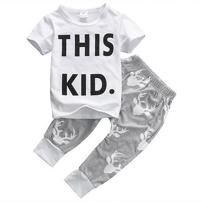 Cute 2PCS Toddler Kids Baby Boy T-shirt Tops+Long Pants Outfits Set Tracksuit