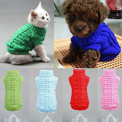 XS/S Pet Dog Puppy Cat Warm Sweater Clothes Knit Coat Winter Apparel Costumes