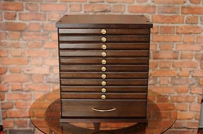10+1W  Coin Tray Collectors Collection Cabinet For 10 Trays + 1 Large Drawer