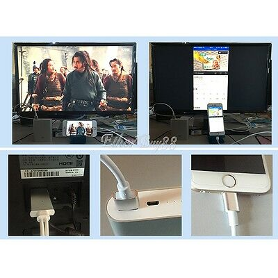Dock to TV HDMI USB Cable 1080p 3D Digital AV Adapter Fr iPad iPhone 5 6 6S Plus