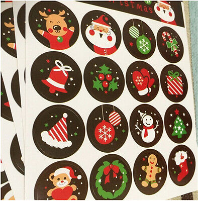 160pcs Merry Christmas Badge Sticker Envelope Seal Gifts Food Wrapping Stickers