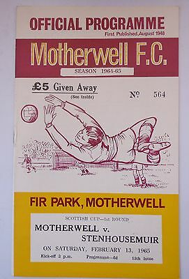MOTHERWELL v. STENHOUSEMUIR SCOTTISH LEAGUE CUP 13 FEBRUARY1965 FIR PARK