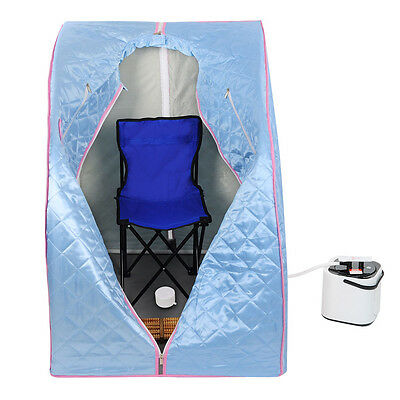 Home Portable Steam Sauna Slimming Full Body Spa Therapy Detox Loss Weight Blue