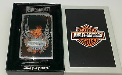 Authentic Zippo High Polish Chrome Harley Davidson Wings Petrol Lighter.