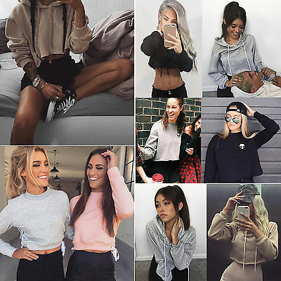 Femmes Casual Capuche manches longues Sweatshirt Crop Tops Jumper Chemises Pull