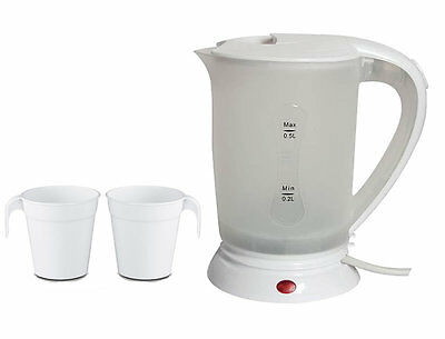 240V 0.5L Litre Small Travel Camping Dual Voltage Kettle Jug With 2 Plastic Cups