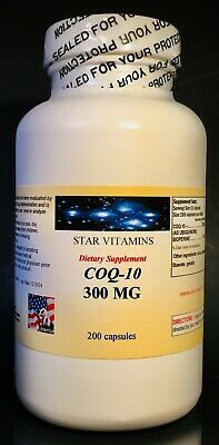 CoQ-10 q10 coq 300mg - 200 capsules, co-enzyme, anti aging, cardio. Made in USA.