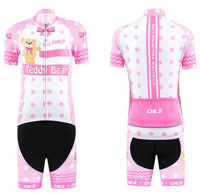 CheJi Enfants Cycling Jersey Ropa Ciclismo Manches Courtes Vélo Jersey Sets Bear