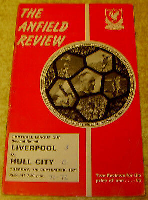 1971/72 LEAGUE CUP 2ND ROUND - LIVERPOOL v HULL CITY
