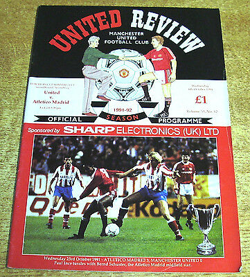 1991/92 CUP WINNERS CUP - MANCHESTER UNITED v ATLETICO MADRID