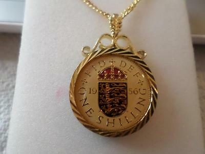 Vintage Enamelled Shilling Coin 1956 Pendant & Necklace. Birthday Christmas Gift