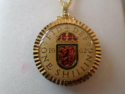 Vintage Enamelled Shilling Coin 1962 Pendant & Necklace. Birthday Christmas Gift